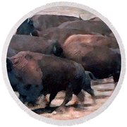 Buffalo Stampede Round Beach Towel