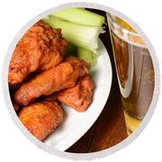 Buffalo Wings With Celery Sticks And Beer Round Beach Towel