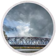 Buffalo's Ohio Street Bridge Round Beach Towel