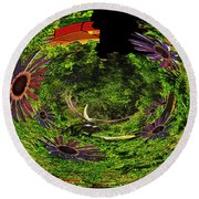 Bugs At The Zoo Daisies And Dragonfly Round Beach Towel