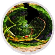 Bugs At The Zoo Grasshopper Round Beach Towel