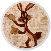 Bugs Banny Original Coffee Painting Round Beach Towel