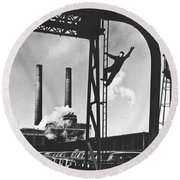 Buick Manufacturing Plant Round Beach Towel