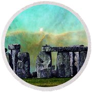 Building A Mystery 2 - Stonehenge Art By Sharon Cummings Round Beach Towel