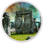 Building A Mystery - Stonehenge Art By Sharon Cummings Round Beach Towel
