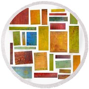 Building Blocks Two Round Beach Towel by Michelle Calkins
