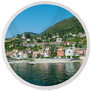 Building In A Town At The Waterfront Round Beach Towel