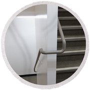 Building Interior White Staircase With Handrails Round Beach Towel