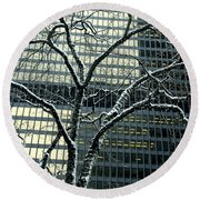 Building Reflection And Tree Round Beach Towel