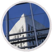 Building Reflection Round Beach Towel