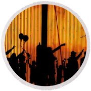 Building Silhouettes In Color Round Beach Towel