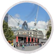 Building Work In The City Of London Round Beach Towel
