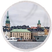 Buildings At The Waterfront, Gamla Round Beach Towel