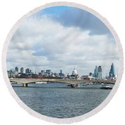 Buildings At The Waterfront, Thames Round Beach Towel