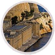 Buildings By The Mediterranean Sea Round Beach Towel