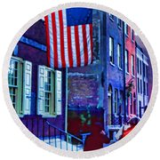 Buildings Flag Bright Red Coat Round Beach Towel