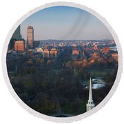 Buildings In A City, Boston Common Round Beach Towel