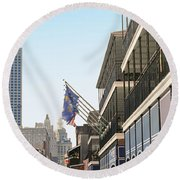 Buildings In A City, Four Points By Round Beach Towel