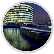 Buildings Near City Hall At Night Round Beach Towel by Panoramic Images