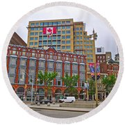 Buildings Near War Memoriall In Ottawa-on Round Beach Towel