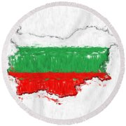 Bulgaria Painted Flag Map Round Beach Towel