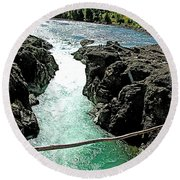 Bulkley River Falls In Moricetown-bc Round Beach Towel