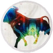 Bull Art - Love A Bull 2 - By Sharon Cummings Round Beach Towel