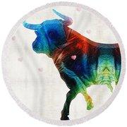 Bull Art - Love A Bull 2 - By Sharon Cummings Round Beach Towel