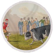 Bull Baiting Round Beach Towel