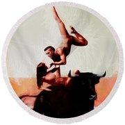 Bull Dancers Round Beach Towel