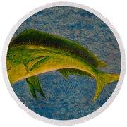 Bull Dolphin Mahimahi Fish Round Beach Towel