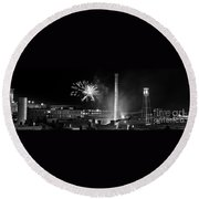 Bull Durham Fireworks Round Beach Towel by Jh Photos