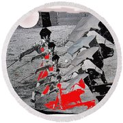 Bull Fight Matador Charging Bull Us Mexico Border Town Nogales Sonora Mexico Collage 1978-2012 Round Beach Towel