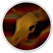 Bull Skull One Round Beach Towel by John Mlaone