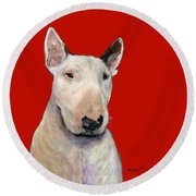 Bull Terrier On Red Round Beach Towel