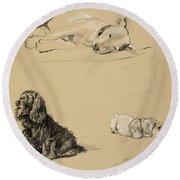 Bull-terrier, Spaniel And Sealyhams Round Beach Towel