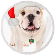 Bulldog Santa Round Beach Towel