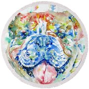 Bulldog - Watercolor Portrait Round Beach Towel