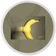 Bullet Piercing A Banana Round Beach Towel