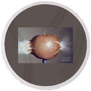 Bullet Piercing An Apple Round Beach Towel by Gary S. Settles