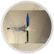 Bullet Piercing Pen Round Beach Towel by Gary S. Settles