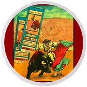 Bullfight Poster Round Beach Towel