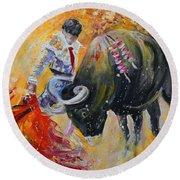 Bullfighting In Neon Light 02 Round Beach Towel