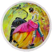 Bullfighting In Neon Light 01 Round Beach Towel