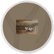 Bullock Cart On Cross Country Road  Round Beach Towel