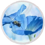 Bumblebee And Blue Morning Glory Round Beach Towel