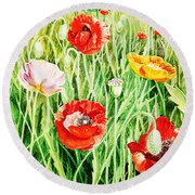 Bunch Of Poppies II Round Beach Towel