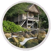 Bungalow In Koh Rong Island Beach In Cambodia Round Beach Towel