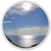 Bunglass Donegal Ireland - Seascape Round Beach Towel