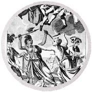 Bunker Hill: Cartoon, 1775 Round Beach Towel